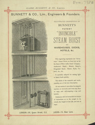 Advert For Bunnett & Co's Steam Hoist